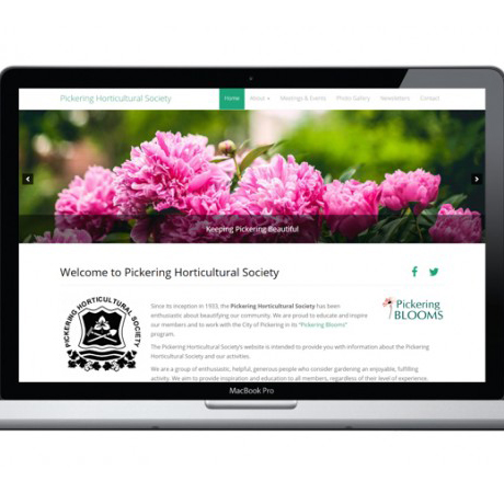 Sevans Designs Featured Projects Pickering Horticultural Society Website Design and Development